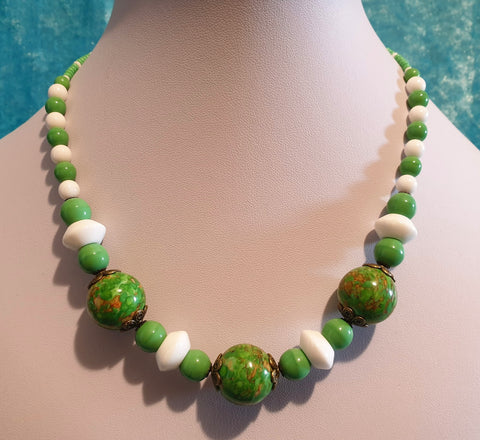 Vintage Art Deco Style Czech Glass Bead Necklace - Preloved Jewels