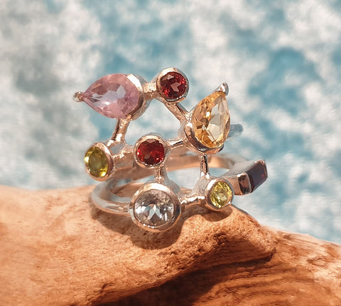 Chunky 925 Solid Sterling Silver and Multi Gemstone Cluster Ring Hallmarked London 2004 - Preloved Jewels