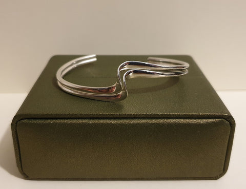Vintage 925 Solid Sterling Silver Double Wave Bar Torque Bracelet with Box - 14.1g - Preloved Jewels