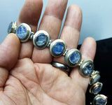 Vintage 925 Solid Sterling Silver and Blue Labradorite Panel Chain Chunky Bracelet - Preloved Jewels