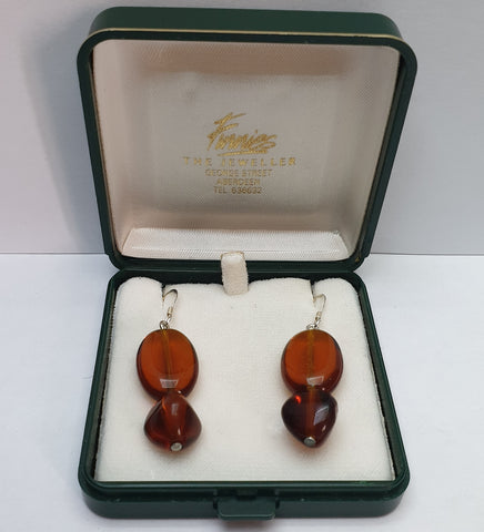Vintage 925 Sterling Silver and Amber Glass Drop Earrings with Box - Preloved Jewels
