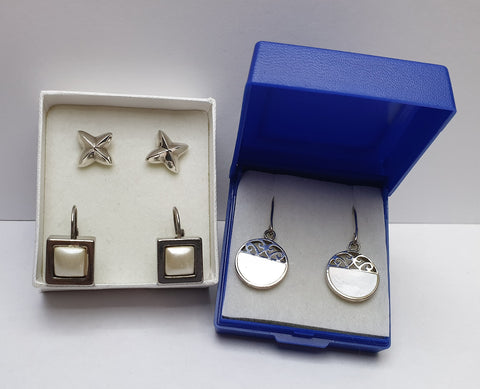 Small Job Lot of Three Pairs of Vintage 925 Sterling Silver Earrings with Boxes - Preloved Jewels