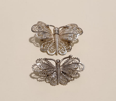 Vintage Pair of 925 Solid Sterling Silver Filigree Butterfly Brooches - Preloved Jewels