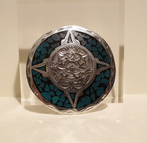 Large Vintage Mexican 925 Solid Sterling Silver Circular Mosaic Turquoise Brooch - Preloved Jewels
