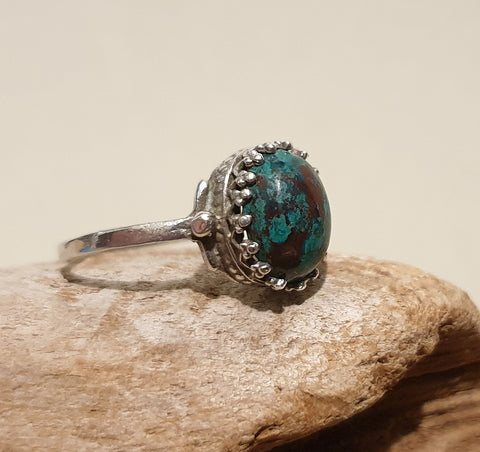 Vintage 925 Solid Sterling Silver and Aqua Blue Azurite Malachite Cabochon Ring - Preloved Jewels