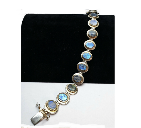 Vintage 925 Solid Sterling Silver and Blue Labradorite Panel Chain Chunky Bracelet