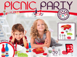 Genius Art Pretend Play Food - Picnic Party Toy Set - 39 Plastic Food Pieces Kit for Girls and Boys