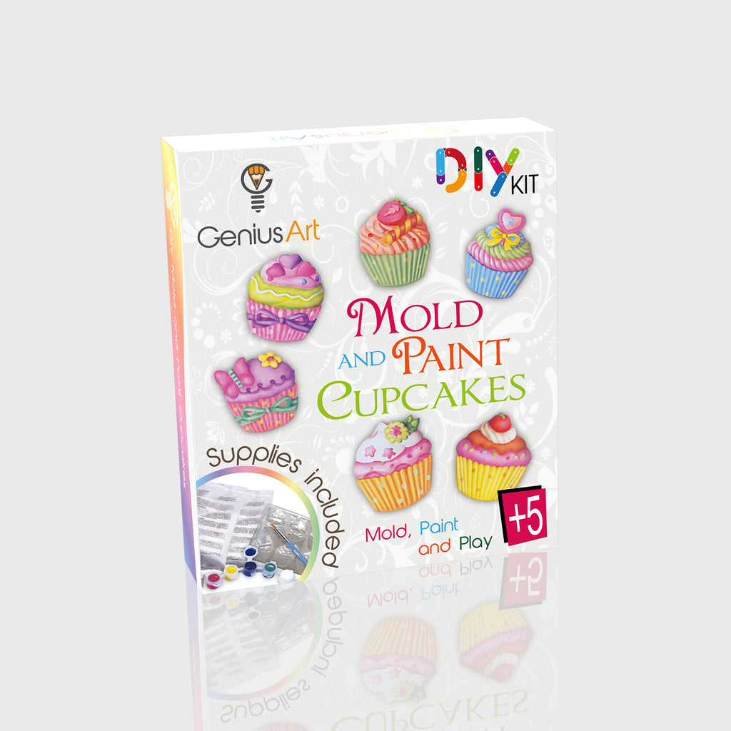 Genius Art - Mold and Paint Cupcakes Craft Kit - DIY Arts and Crafts for Girls and Boys