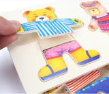 Genius Art Mix 'n Match Wooden Bear Family Dress-Up Puzzle With Storage Case, 72 pieces
