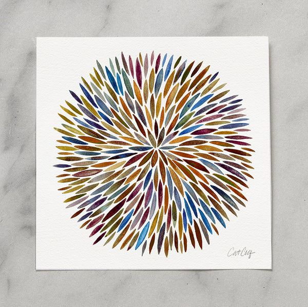 Watercolor Burst – Vintage Palette • Art Print