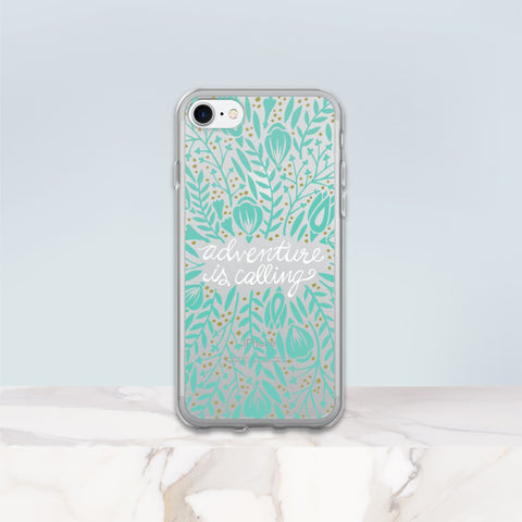 Adventure is Calling – Mint Palette • iPhone 7/7 Plus Case (Transparent)