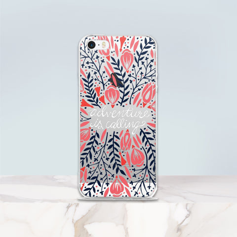 Adventure is Calling – Red & Black Palette • iPhone 5/5s/Se, 6/6s, 6/6s Plus Case (Transparent)