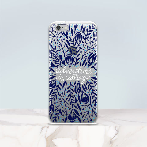 Adventure is Calling – Navy Palette • iPhone 5/5s/Se, 6/6s, 6/6s Plus Case (Transparent)