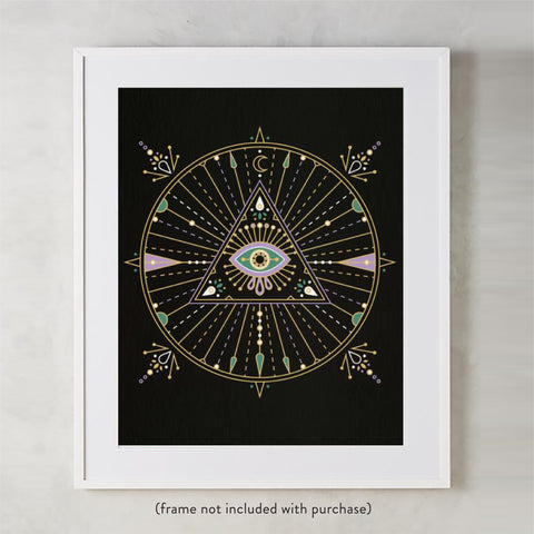 All-Seeing Eye Mandala – Black Palette • Art Print