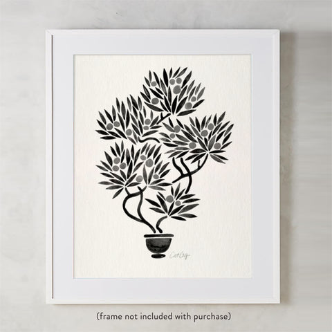 Bonsai Fruit Tree – Black Palette • Art Print