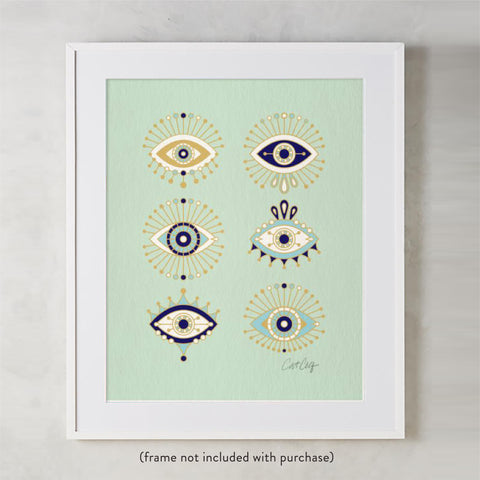 Evil Eyes – Mint Palette • Art Print