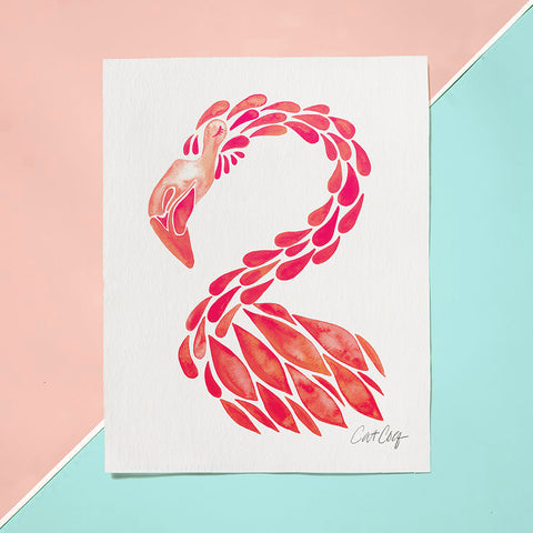 Flamingo Cameo – Pink Palette • Art Print