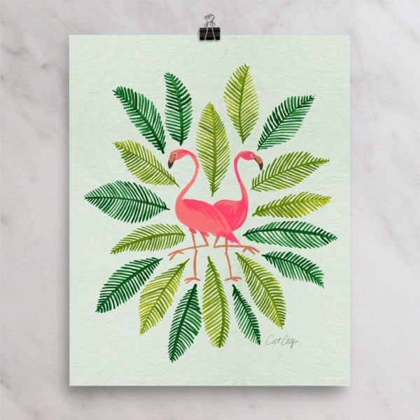 Flamingos and Fronds • Art Print