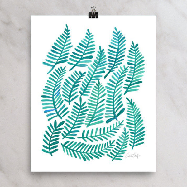 Fronds – Turquoise Palette • Art Print
