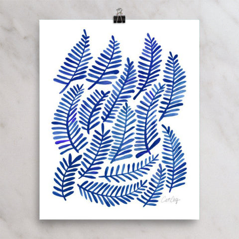 Fronds – Navy Palette • Art Print