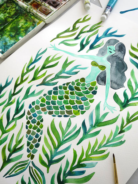 Kelp Forest Mermaid – Green Palette • Tote Bag