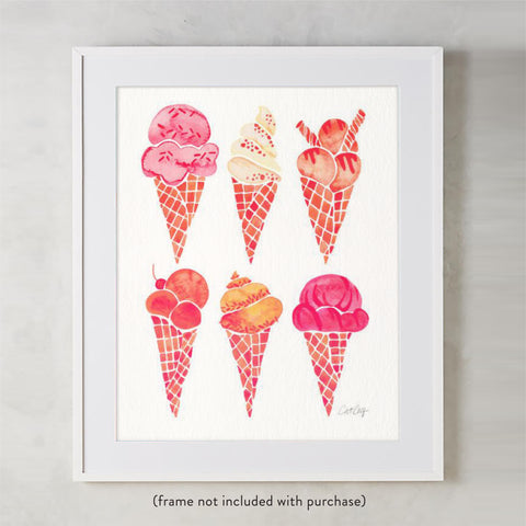 Ice Cream Cones – Peachy Pink Palette • Art Print
