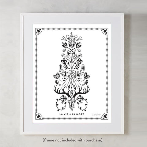 La Vie & La Mort – Black Ink on White • Art Print