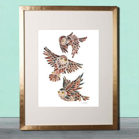 Owls in Flight – Brown Palette • Art Print