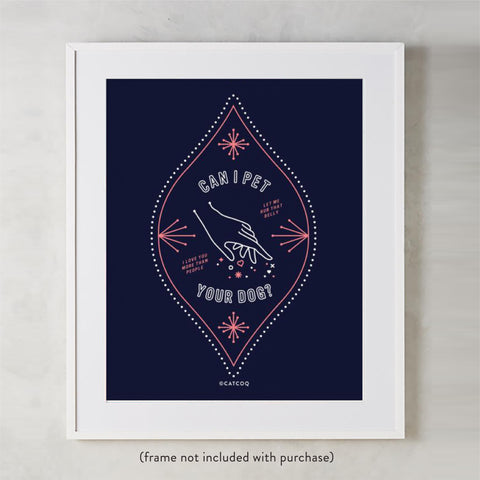 Can I Pet Your Dog – Navy & Blush Palette • Art Print
