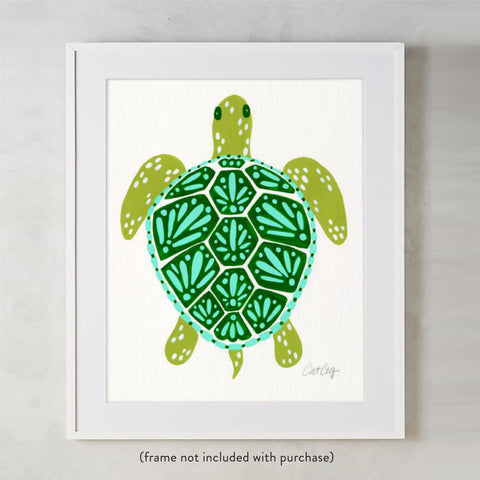 Sea Turtle – Green Palette  •  Art Print