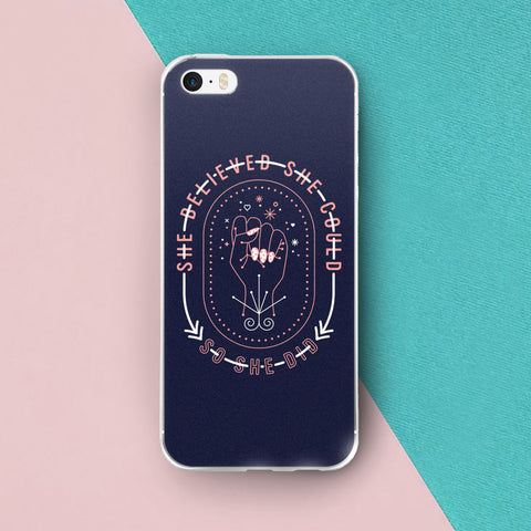 She Believed – Blush & Denim Palette • iPhone Case