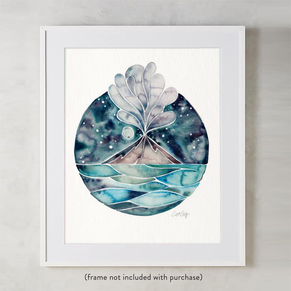 Stromboli Volcano at Midnight – Blue Palette • Art Print