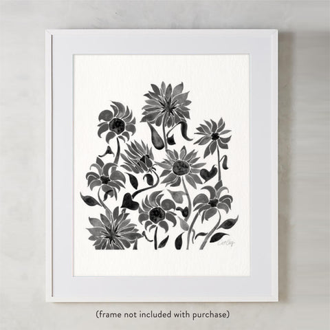 Sunflower Watercolor – Black Palette • Art Print