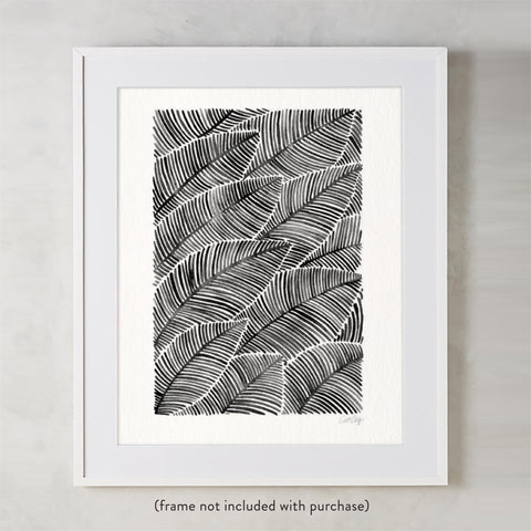 Tropical Leaves – Black Palette  •  Art Print