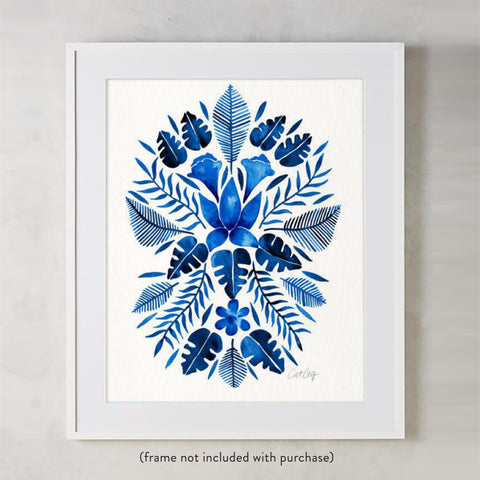 Tropical Symmetry – Navy Palette • Art Print