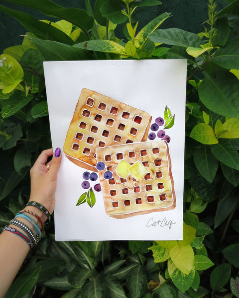 Blueberry Breakfast Waffles  •  Square Pillow