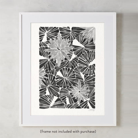 Water Lilies – Black Palette  •  Art Print