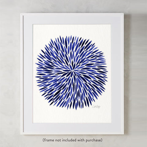 Watercolor Burst – Navy Palette • Art Print