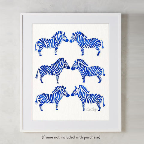 Zebra Collection – Navy Palette • Art Print