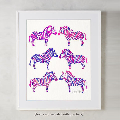 Zebra Collection – Indigo Palette • Art Print