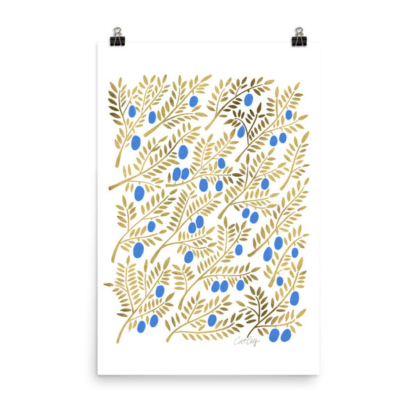 Olive Branches - Blue and Gold