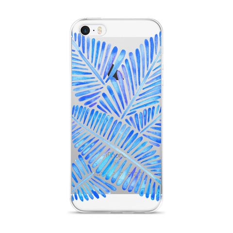 Banana Leaves – Blue Palette  •  iPhone 5/5s/Se, 6/6s, 6/6s Plus Case (Transparent)