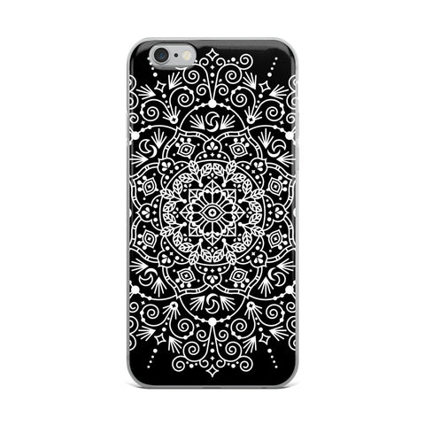 Moroccan Mandala – White Ink on Black • iPhone Case