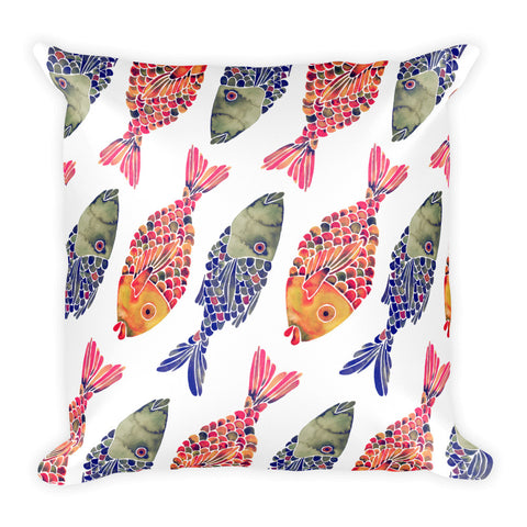 Indonesian Fish – Navy & Red Palette  •  Square Pillow