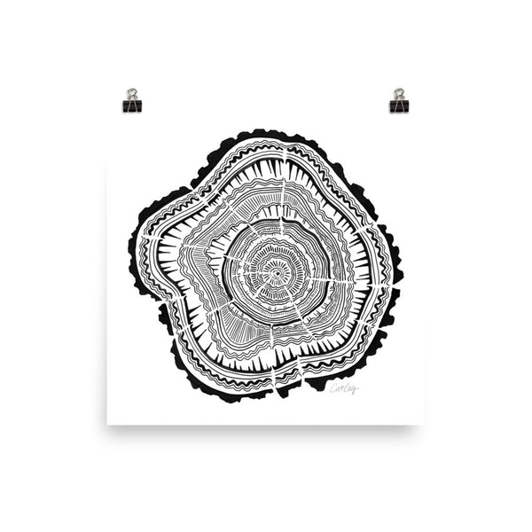 Tree Rings – Black Palette • Art Print