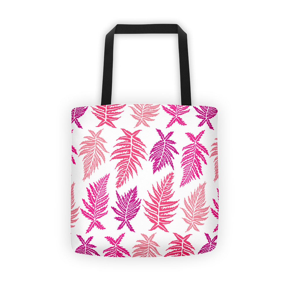 Inked Ferns – Pink Ombré Ink • Tote Bag