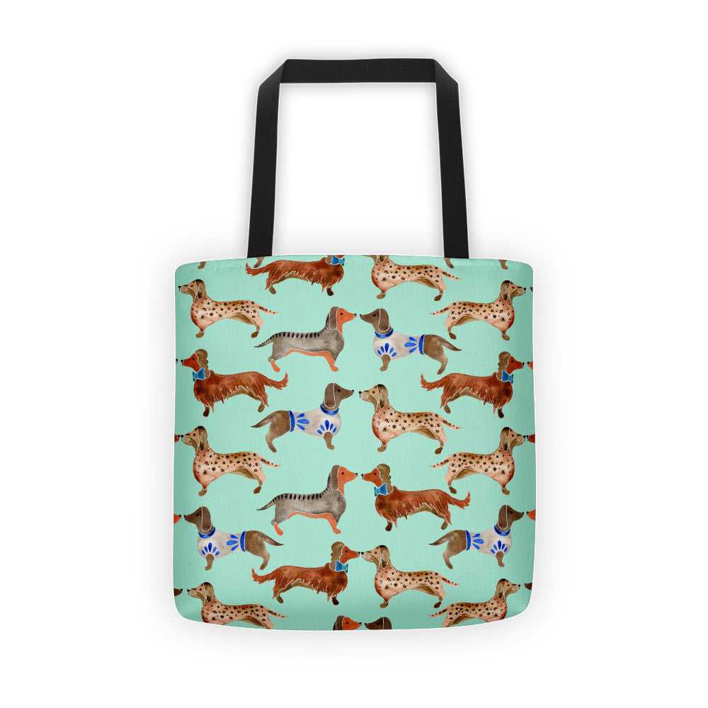 Dachshunds – Mint Palette  •  Tote Bag