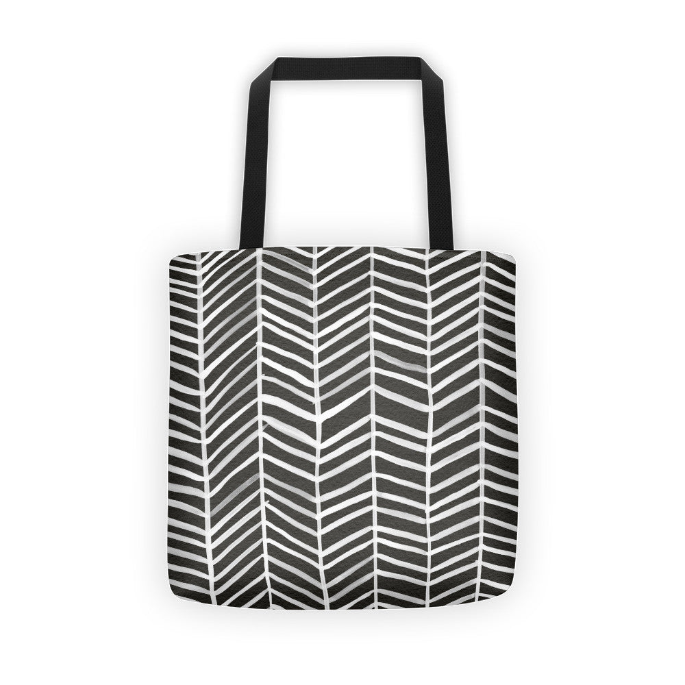 Herringbone – Black Palette • Tote Bag
