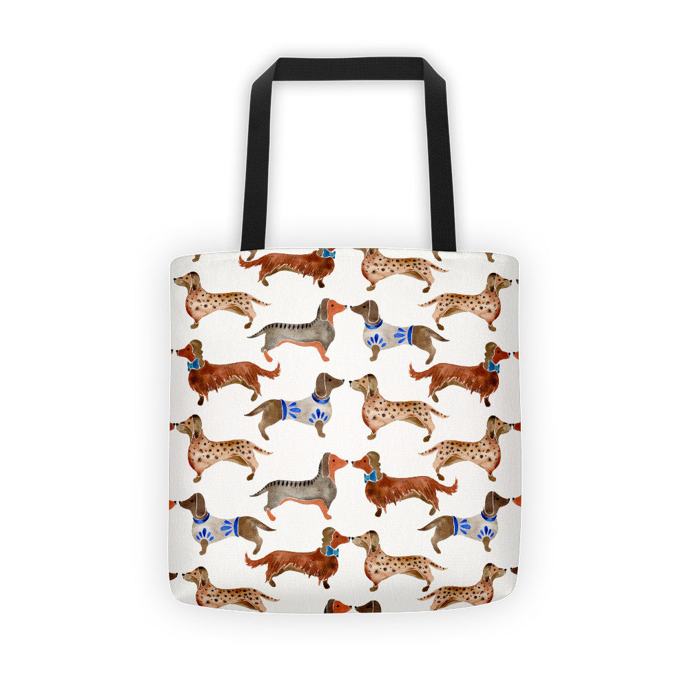 Dachshunds – White Background  •  Tote Bag