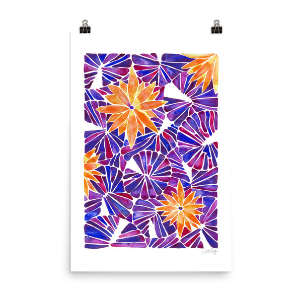 Water Lilies – Orange & Purple Palette  •  Art Print